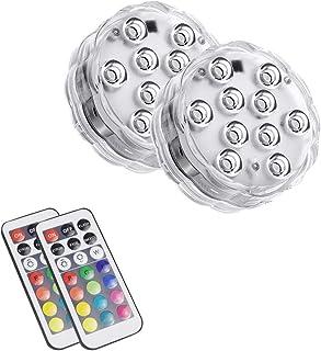 Luces subacuáticas Control remoto RGB Luces LED sumergibles Luz de baño con pilas IP67 Luz de tina caliente a prueba de agua para spa Piscina Estanque Acuario Baño (2 piezas)