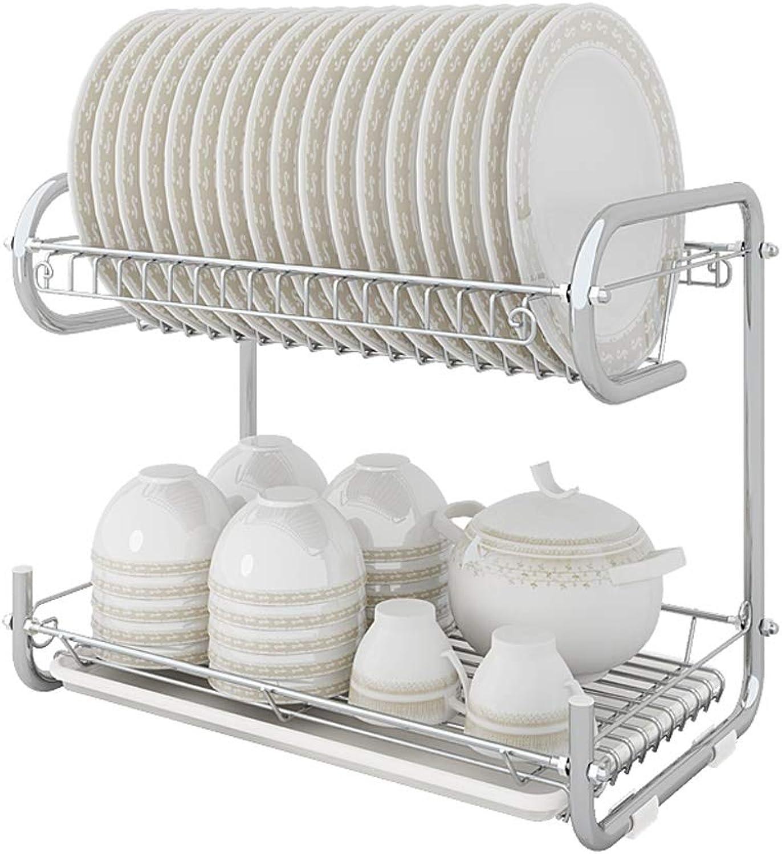 PeaceipUS Carbon Steel Racks Dish Drain Rack Double-Layer Dish Rack Finishing Kitchen Supplies Storage Rack