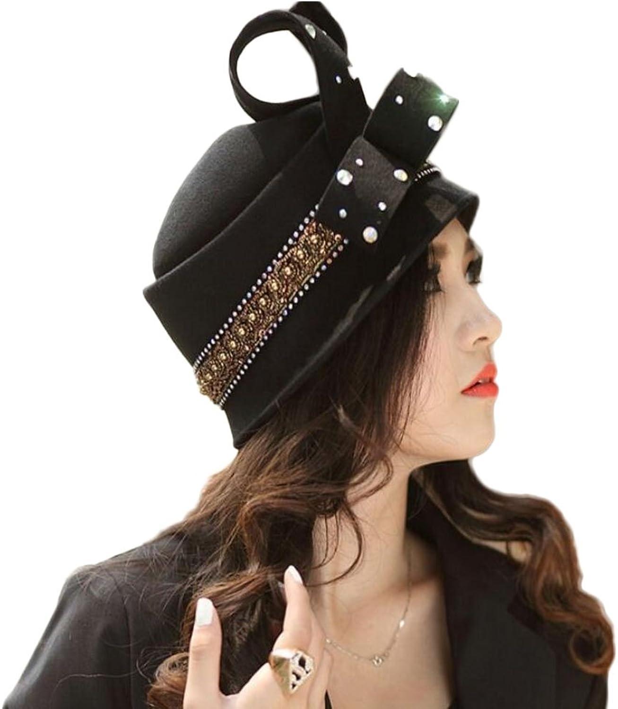Spring Autumn Short Brims with a Pure color Felt Hat Festival Ladies Hat