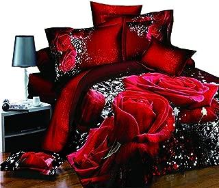 3Pcs/Set Duvet Cover Set Red Rose 3D Oil Painting Bedding Set Bedclothes Home Textile Quilt Cover Queen Size