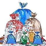 FEPITO 36 Bolsas de piezas de Navidad envolver saquitos extras bolsas con cinta 36pcs Lazos para el partido del árbol de Navidad Presente favor de envolver fiesta de Navidad Decoración