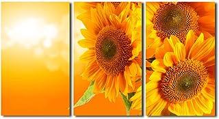 レモンツリーART アートパネル キャンバス絵画 向日葵 ひまわり お花 フラワー インテリア 壁飾り 壁掛け 新築飾り アートフレーム 3パネルセット