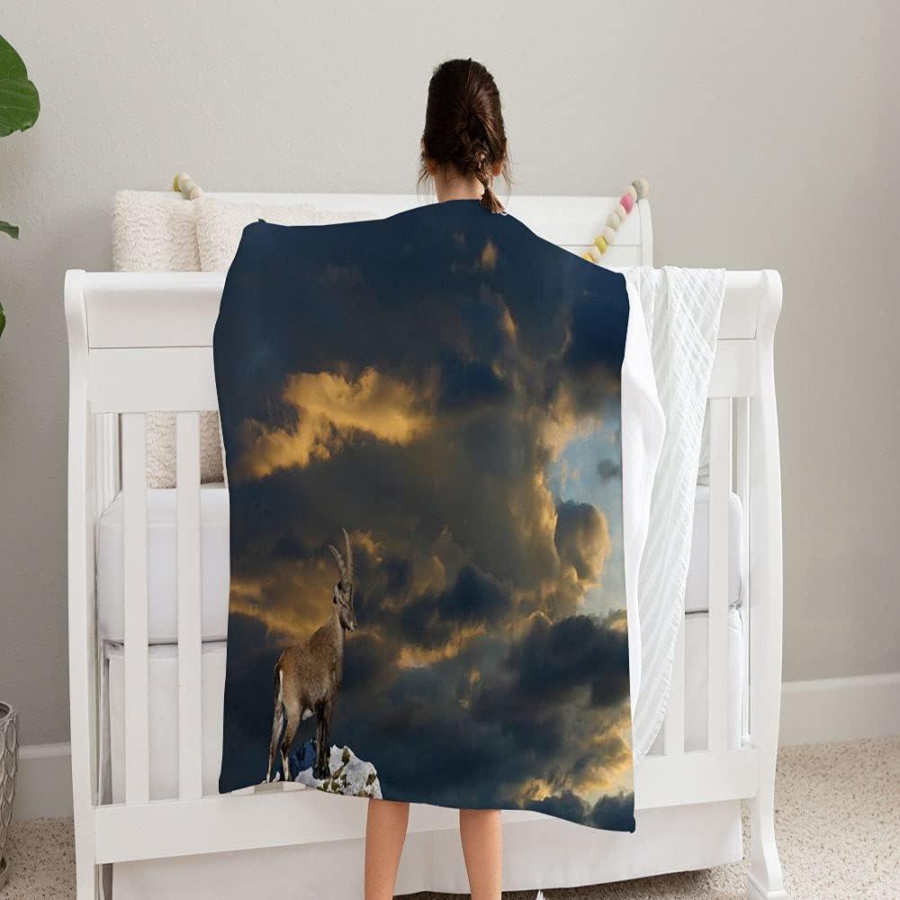 LPVLUX Goat Steinbock Blanket Super Japan Direct store Maker New Blanke and Soft Fleece Cozy