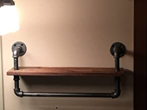 Industrial Pipe Shelf with Built on Towel Bar, Steampunk shelving- Knotty Pine Shelf