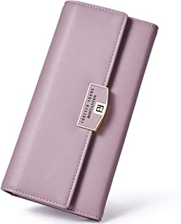 BOSTANTEN Womens RFID Blocking Wallets Leather Wristlet Long Clutch Cash Card Holder Wallet Purple