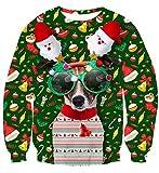 Idgreatim Teenager Boys Ugly Christmas Pullover Sweatshirt Funny 3D Dog Printed Long Sleeve T-Shirt S