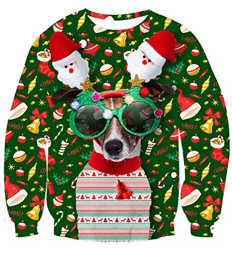 Idgreatim Mens Women Ugly Christmas Pullover Sweatshirt Novelty Dog Long Sleeve T-Shirt Tops XL