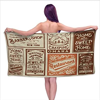 Bath Towel Old Newspaper Various Advertisement Signs Barber Shop Restaurant Camping Retro Style Super Soft Highly Absorbent W35 x L12 Brown Orange Tan