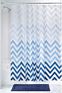 "InterDesign Ombre Chevron PVC-Free 4.8 Gauge PEVA Shower Curtain - 72"" x 72"", Blue Multi Color"