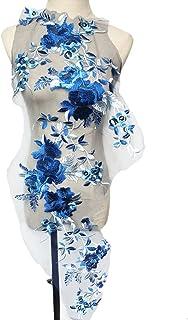 SKREOJF Fleurs brodées bleue feuilles de branche appliques tissu robe de mariée garnitures de dentelle collier maillage co...