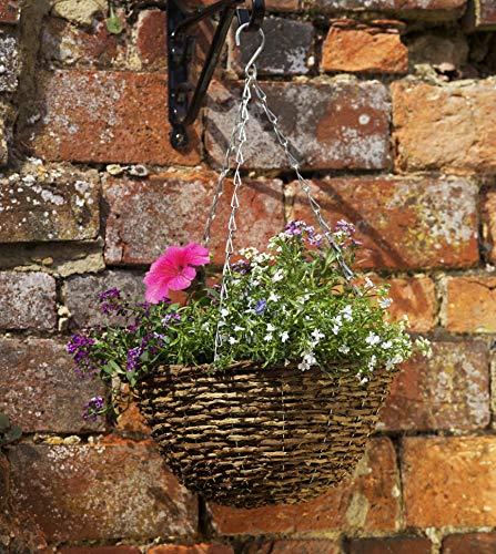 pille gartenwelt Blumenampel außen Rattan Blumenampeln zum aufhängen versch. Größen und Farben (rund 30cm Country Rattan)