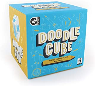 Ginger Fox Doodle Cube Pictionary Drawing Challenge Game with Markers & Boards - Roll The Dice to Determine Your Doodle