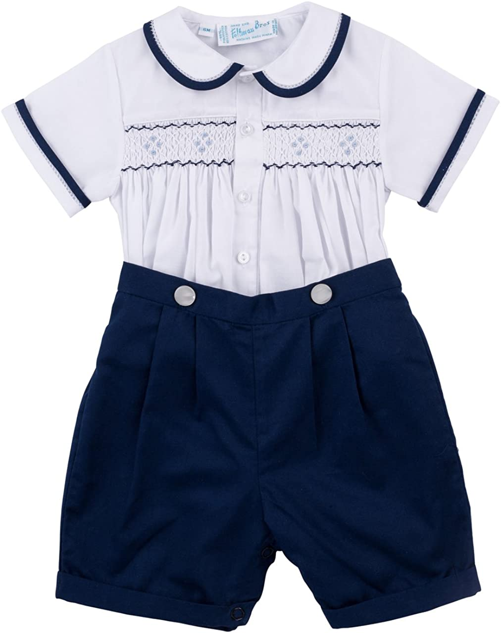 Feltman Brothers Boys Navy and White 2 Piece Smocked Bobby Suit 9 Months