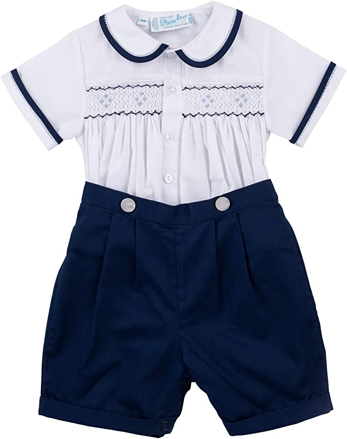 Kids 1950s Clothing & Costumes: Girls, Boys, Toddlers Feltman Brothers Navy & White Two Piece Smocked Boys Short Set Infant & Toddler  AT vintagedancer.com
