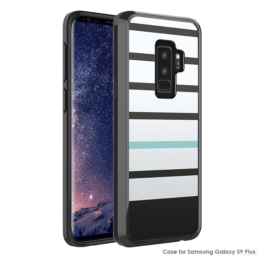 Capsule Case Compatible with Samsung Galaxy S9 Plus [Hybrid Slim Hard Back Shield Fused TPU Edge Bumper Black Case] for Samsung Galaxy S9+Plus - (Black Mint Stripe)