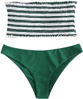 c241d164144a UMIPUBO Costumi da Bagno Due Pezzi Donna Striscia Senza Spalline Costumi da  Mare Spiaggia Bikini Set