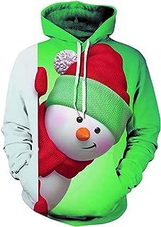 Mens 3D Snowman Hoodie Christmas Sweatshirt Pullover Hooded Tops Outwear