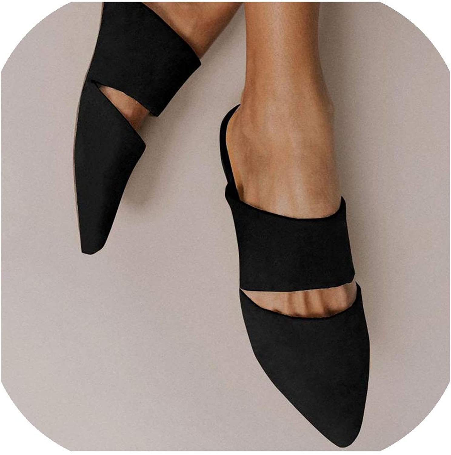 Simple Flat Mule Slippers Slides Holidays Sandles Pointed Toe Ladies shoes for WOM,