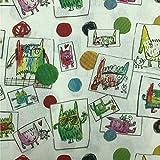 Kt KILOtela Tela por Metros de loneta resinada - Mantelería Antimanchas - 140 cm Ancho - Largo a elección de 50 en 50 cm | Infantil, El Monstruo de Colores - Multicolor