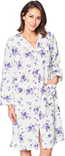 Women's Floral Snap Front Flannel Duster Long Sleeve Lounger Dress