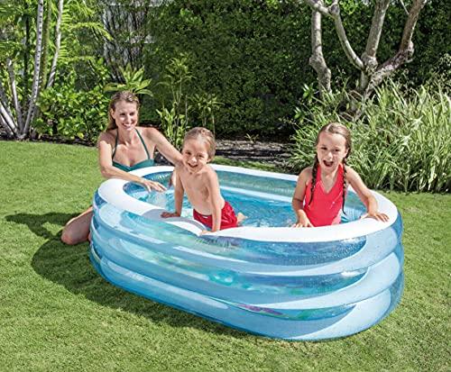 Aufblasbarer Pool Oval   Planschbecken   Aufstellpool   Swimmingpool   Kinderpool   Babypool   Schwimmbecken für Kleinkinder Kinder ab 3 Jahre für Garten   163 x 107 x 46 cm
