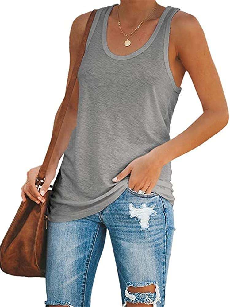 Women Tank Tops Loose Fit Workout Racerback Color Block Trendy Tunic Top Casual Sleeveless Shirt