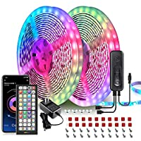"""2 rolls of 32.8 ft LED lights, 65.6 ft in total Remote and phone app control, the app """"Ehome light"""" will be replaced by """"illumi Home"""", and we no longer offer LED lights controlled by """"Ehome Light"""" in 2021 Built-in mic that syncs with music beats Easy..."""