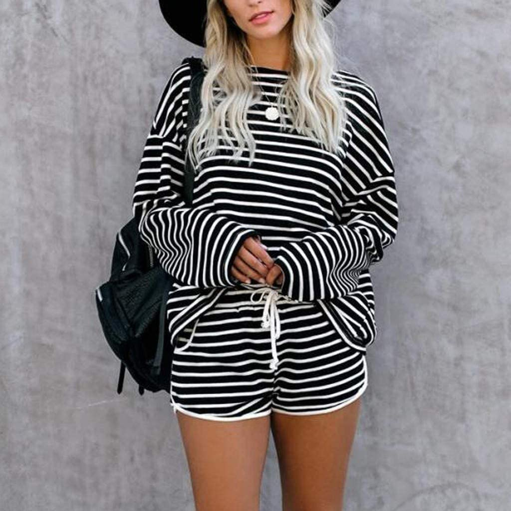 Tie Dye Pajamas for Women,Women Short Pajama Set Long Sleeve Crewneck Stripe Printed Sleepwear PJ Set Loungewear