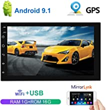 Android 9.1 Double Din Car Stereo 7 Inch Navigation Touch Screen Car Radio Bluetooth in Dash Head Unit Support WiFi GPS FM WiFi Steering Wheel Control Dual USB + Rear View Camera