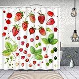 YANAIX Cortina Ducha Impermeable,Acuarela Set Pintado a Mano Fresas Verde,Impresión de Cortinas baño con 12 Ganchos 150x180cm