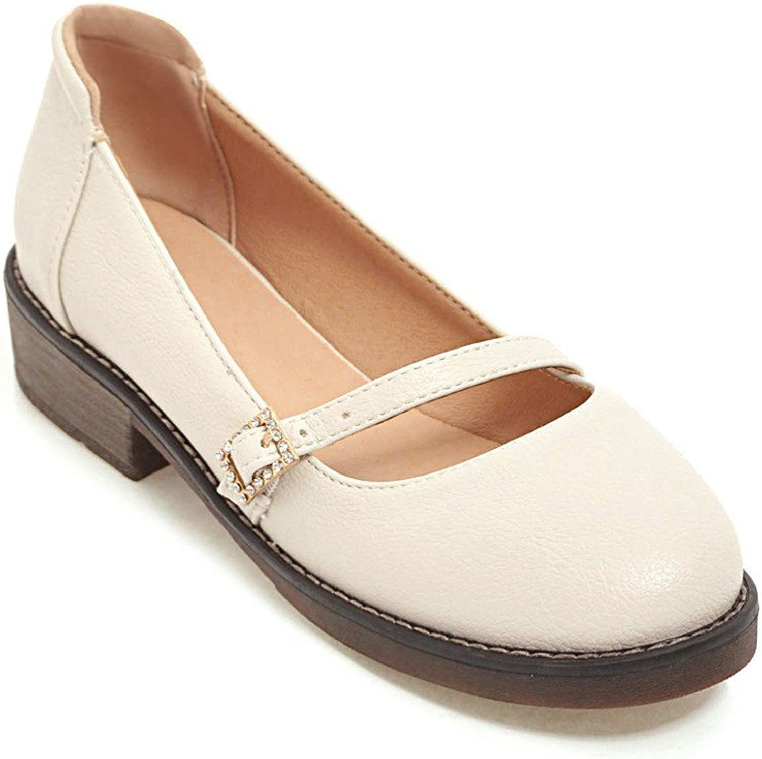 GAOLIM Solid color Round Head Light-Slotted Strap With Single Women In shoes With Bold shoes Student shoes Trend.