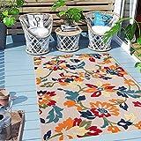 Carpeto Rugs Blumenmuster In- & Outdoor Teppich Wetterfest für Balkon, Terasse - Balkon Teppich...