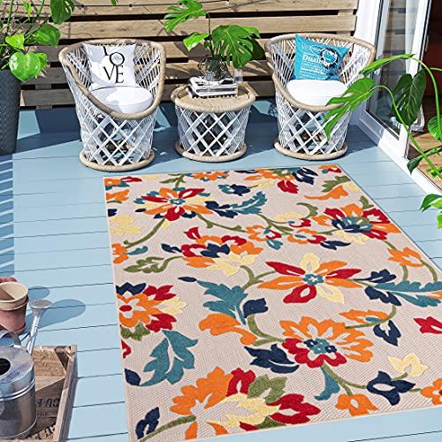 Carpeto Rugs Blumenmuster In- & Outdoor Teppich Wetterfest für Balkon, Terasse - Balkon Teppich Wasserfest - Outdoorteppich Wetterfest - Aussenteppich Terrasse Groß - Orange Bunt - 120 x 170 cm