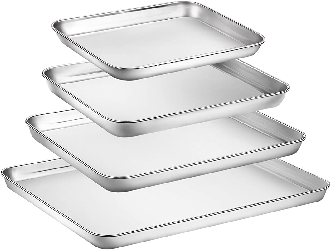 Zacfton Baking Sheet Set Of 4 Stainless Steel Baking Pan Tray Cookie Sheet Non Toxic Healthy Rust Free Easy Clean Dishwasher Safe