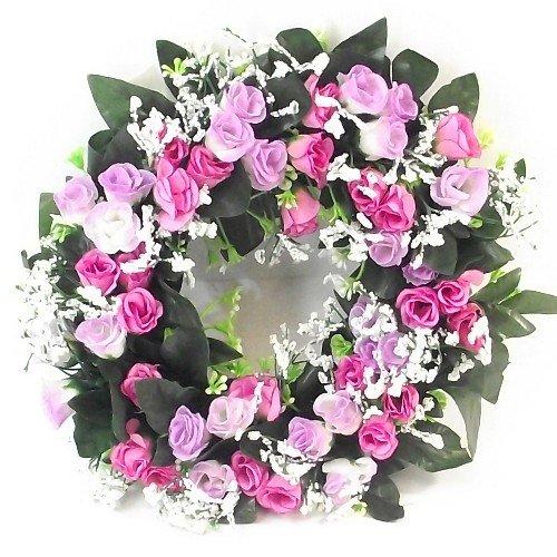 Künstlicher Blumenkranz, lila- & rosafarbene Rosen, 30 cm, Verwendung im Innen- und Außenbereich, Kerzenring, Dekoration für Haus, Grab oder Hochzeit