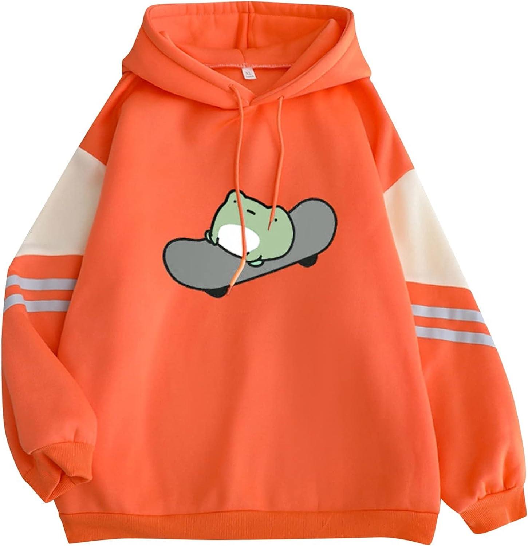siilsaa Hoodies for Women Skateboarding Frog Hoodie Drawstring Hooded Sweatshirt Long Sleeve Loose Pullover Tops Blouse