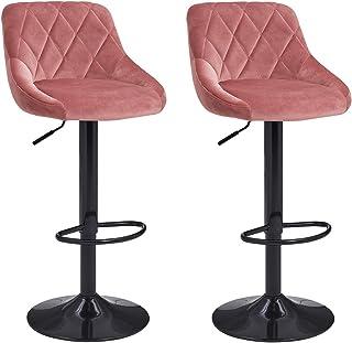 Duhome Set van 2 barkrukken kunstleer barstoel met rugleuning kleurkeuze in hoogte verstelbaar draaibaar barkruk - type 52...