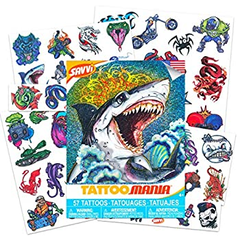 Assorted Tattoos for Kids Boys and Girls -- 50 Tattoos Featuring Shark Bug Dinosaur Dragon Sports Pirate Robot Alien Animal Designs  Kids Temporary Tattoos Pack