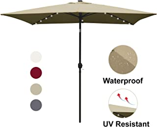 ABCCANOPY Rectangular Patio Umbrella Solar Powered Outdoor Umbrellas Market Table Umbrella with 26 LED Lights, Tilt and Crank for patio deck and pool , 6.6 by 9.8 Ft (Tan)