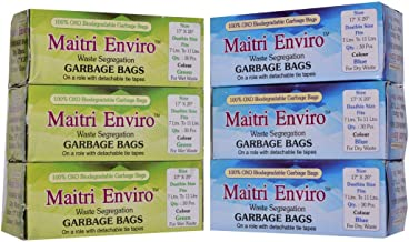 Maitri Enviro Oxo Biodegradable Garbage 180 Bags Roll Combo 6 Rolls (Colour: Blue and Green)