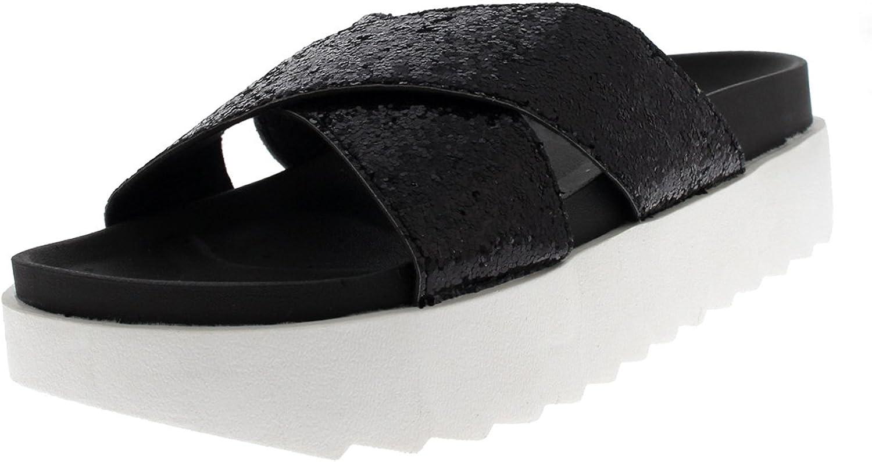 Viva Womens Platform Glitter Strap Slip On Summer Fashion Sandals shoes