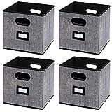 homyfort Caja de Almacenaje con 4 pcs, Set de 4 Cajas de Juguetes, Caja de Tela...