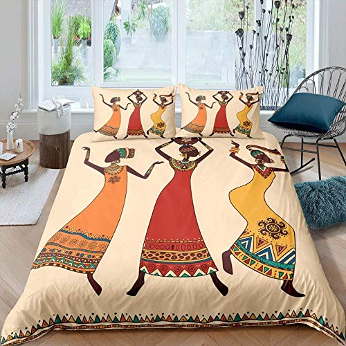 HKDGHTHJ 3D duvet cover 4 piece set Bohemian ethnic tribal African woman 200x200 CM 4pcs Fashion Simple Style Bedding Set Duvet Cover Bed Sheet Set Bed Linens Home Textile Twin Full Queen King Size