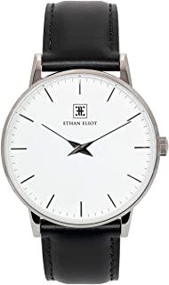 Classic Minimalist Men's Watch, Oxford 40mm Silver Watch for Men, Stainless Steel Silver Case, White Face & Genuine Black Leather Band, 5ATM Water Resistant Watch (EE40-SW34BK)
