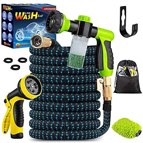 Topidex Car Wash Kit, Expandable Garden Hose 50 FT - with High Pressure Spray Nozzle – Durable Soap Dispensing Sprayer Gun - 9 Spray + 3 Foam Spraying Patterns with Storage Bag, Hanger & Wash Mitt