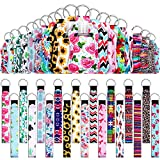 54 Pieces Empty Travel Bottles with Keychain Holder Set Include 18 Portable 1 oz Refillable Travel Bottle Container with Flip Cap 18 Reusable Bottle Holders 18 Wristlet Keychain (Assorted Patterns)