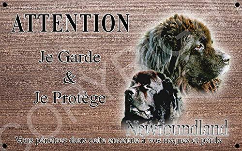 Pets-Easy.com Panneau Attention au Chien personnalisée Terre Neuve - pré perforée et vis fournies. De 30 cm à 15 cm…