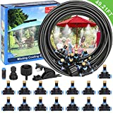 Elover Misting Cooling System 49.21FT (15M)+15 Brass Mist Nozzles+3/4' and 1/2' Faucet Connector for Trampoline Waterpark Patio Umbrella,Shade Sail Automatic Distribution System