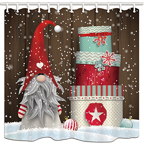 NYMB Winter Festival Shower Curtains for Bathroom, Christmas Elf Tomte Standing in Front of Wooden in Snow, Polyester Fabric Waterproof Kids Bath Curtain, Shower Curtain Hooks Included, 69X70in