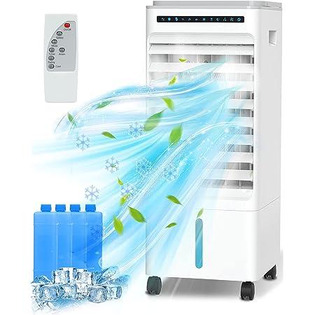 QUARED 4 in 1 Condizionatore d'Aria portatile, Raffreddatore d'Aria Air Cooler Ventilatore Evaporativo con serbatoio dell'acqua da 5 litri, 3 modalità, 3 velocità, telecomando, Timer